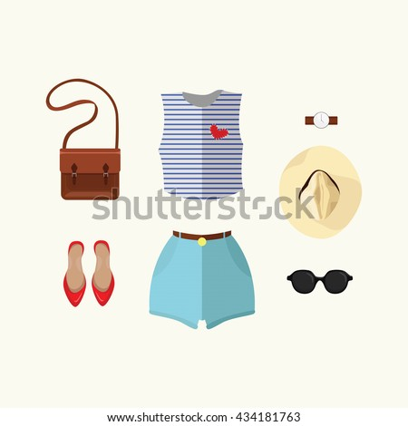 Summer outfit. Vector illustration.