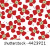 summer red daisies (vector) - illustrated background - stock vector