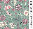 Summer seamless pattern in vector. Vacation concept background. Seamless pattern can be used for wallpapers, pattern fills, web page backgrounds, surface textures. - stock photo