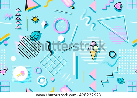 Summer Seamless Pattern With Ice Cream, Leaves And Geometric Shapes. Stylish  Trendy Fabric.