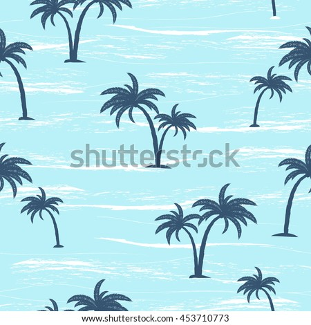 summer seamless pattern with  palm trees and sea, vector illustration
