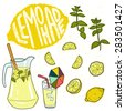 Summer set with lemonade and it's ingredients. Lemon, mint, jug, ice, glass and 'Lemonade' hand lettering. Hand drawn vector illustration. - stock vector