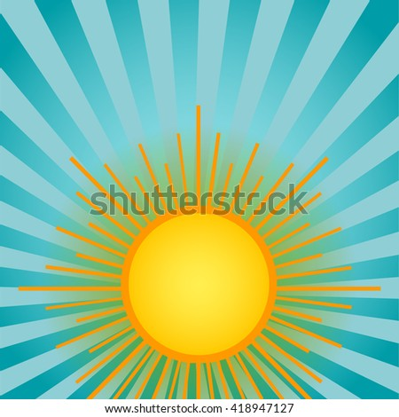 Summer shining sun on the sky background. Blue backdrop with retro rays of light.