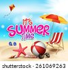 Summer Time in Beach Sea Shore with Realistic Objects. Vector Illustration. - stock vector