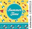 Summer time vector greeting card with pattern and text - stock vector