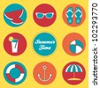 Summer time vector set with sunglasses, watermelon, anchor, umbrella, flip flops, coctail - stock vector