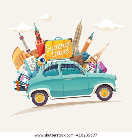 traveling by car famous monuments europe stock illustration 153204875 shutterstock. Black Bedroom Furniture Sets. Home Design Ideas