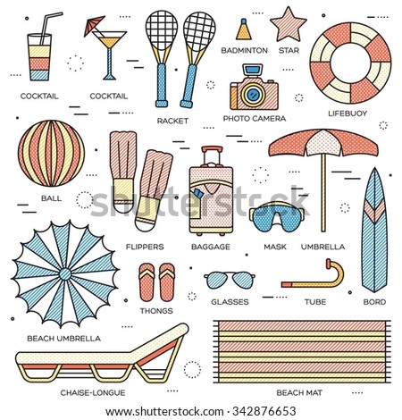 Summer vacation concept in thin lines style design. Beach umbrella, lifebuoy, diving, equipment, towel, ocean, supplie, landscape. Vector abstract template for greeting card or invitation