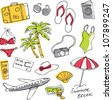 Summer vacation holiday icons vector - stock vector
