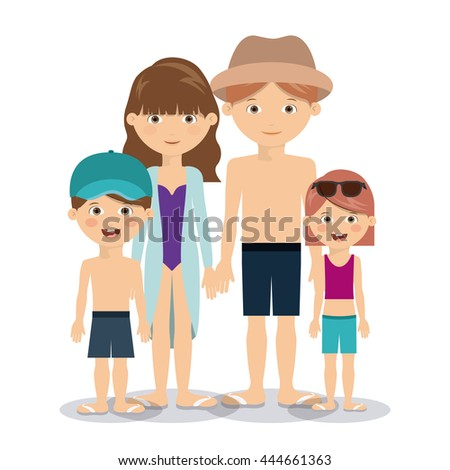 Father mother son daughter portrait four stock vector for Mother daughter vacation destinations