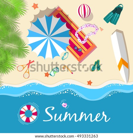 summer vecetion time background vector illustration concept