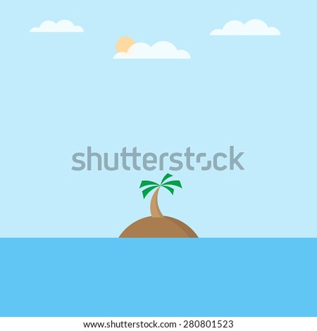 Summertime seascape with tropical island, vector illustration