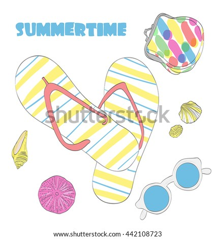Summertime. Sun glasses, flip flops, seashells and small bag illustration. Hand drawn vector objects isolated on white. Bright colors.