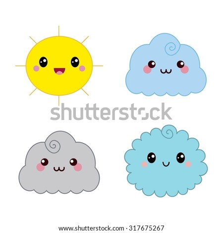 Cute Japanese Weather Icons Emotions Isolated Stock Vector ...