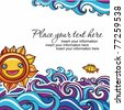 Sun and  waves vacation background 4 (floral curly series) - stock vector