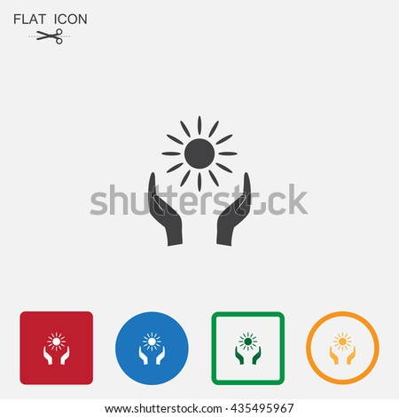 Sun icon with shadow on a grey background