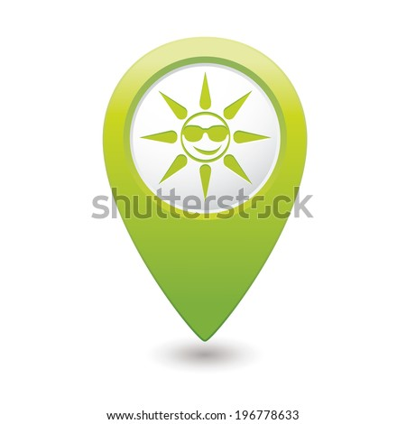 Sun in sunglasses icon on map pointer, vector illustration.