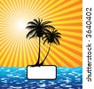 Sun, palm tree and the sea - stock vector