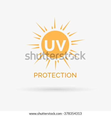 Sun protection icon design. UV symbol. SPF sun sign. Ultra violet rays radiation. Vector illustration.