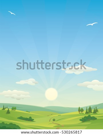 Sunrise over idyllic landscape, with rolling hills and clouds in the sky. Copy Space, Vertical.