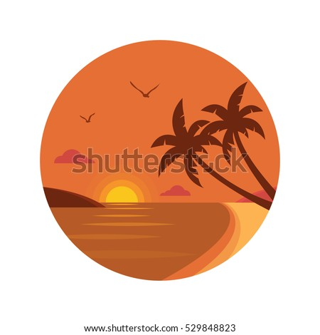 Sunset Beach With Palm Trees Icon Flat Design