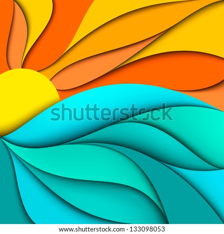 Sunset. Sunrise. Abstract sea waves background