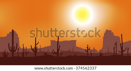 Sunset with Saguaro Cactus. Desert. Vector landscape.