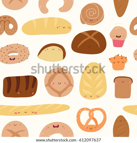 Super Cute Seamless Pattern With Bread Pie Muffin Pretzel Cookie And Other