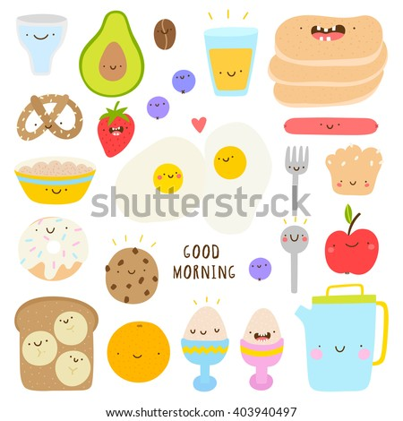 Super cute set of Breakfast icons - eggs, cookie, tea, avocado, pancakes, banana and other tasty food. Hand drawn Smiley characters about breakfast and healthy food. Good morning collection.