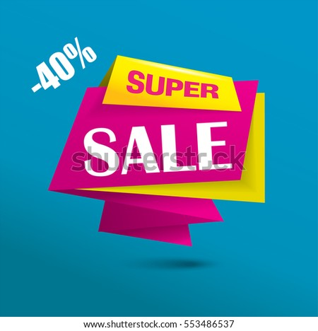 Super sale banner as origami vector bubble in vibrant pink and yellow colors