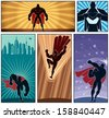 Superhero Banners 2: Set of 5 superhero banners. No transparency and gradients used. - stock vector