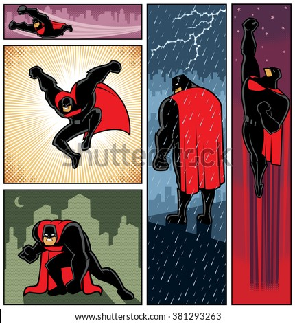 Superhero Banners 6: Set of 5 superhero banners. No transparency or gradients used.
