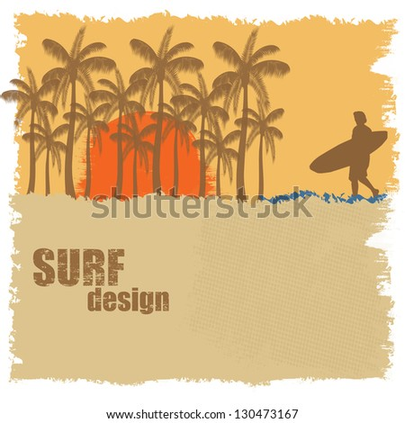 Surf poster design with surfer and palms, vector illustration