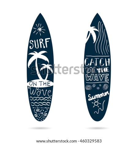 surfboard set textured in blue color illustration on white