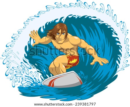 Surfer rides a blackboard during a storm, vector illustration