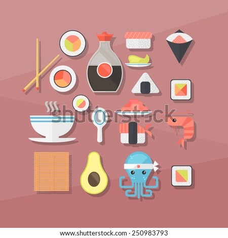 sushi attributes. flat illustration, elements for infographics