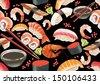 Sushi seamless pattern - stock