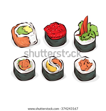 Sushi set. Traditional Japanese fast food. Hand drawn vector illustration.