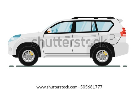 SUV car isolated on white background. Vector SUV car. Sport utility Vehicles cartoon car isolated.