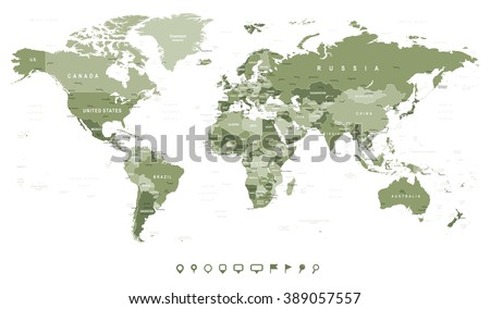Swamp Green World Map - borders, countries and cities - illustration Image contains next layers: - land contours - country and land names - city names - water object names