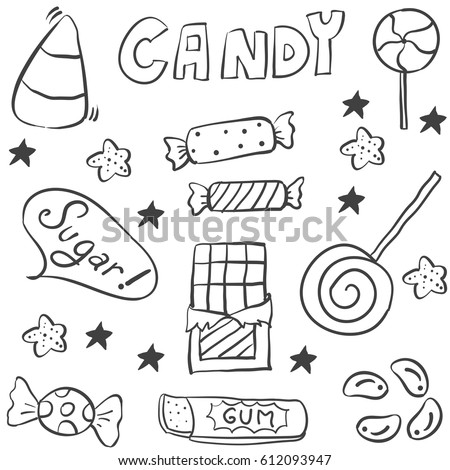 Doodle Candy Hand Draw Style Stock Vector 614481380 ...