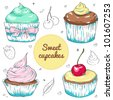 Sweet cupcakes vector set - stock vector