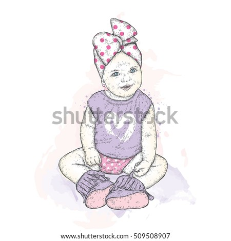 Sweet girl with a bow charming baby vector illustration for a card