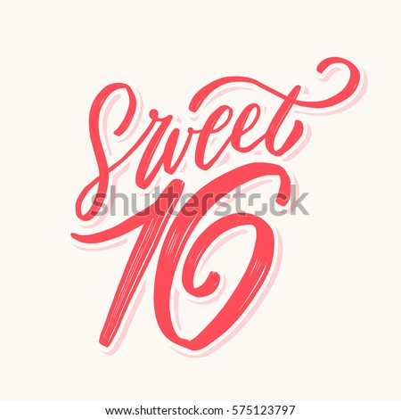 Sweet 16 Hand Lettering Stock Vector 575123797  Shutterstock. Older Signs. Lucille Decals. Appendicolith Signs. Easel Signs Of Stroke. Kid Cloth Shop Banners. Civic Signs. Volunteer Lettering. Mountain Scene Decals