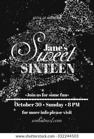 Sweet Sixteen Glitter Party Invitation Flyer Stock Vector
