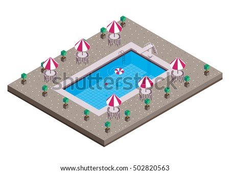 swimming pool isometric vector design