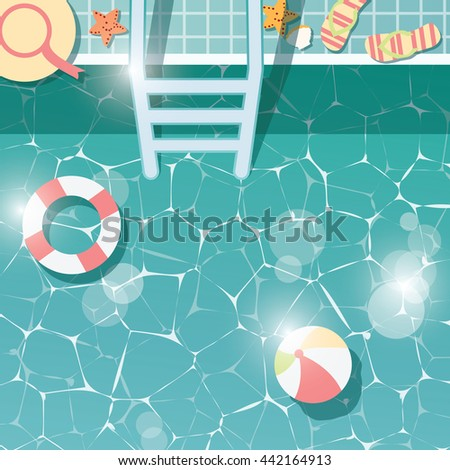 Swimming pool side, top view, summer time holiday vacation, clear water with beach items, vector illustration