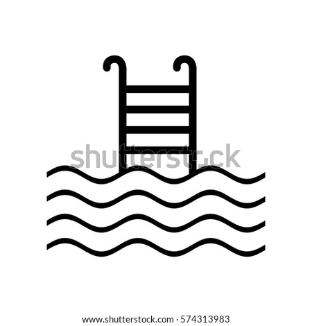 Swimming Pool Sign Black Icon On Stock Vector Shutterstock