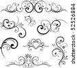 Swirling flourishes decorative floral elements - stock photo