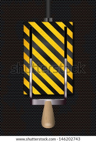Switch on-off on rusty metal background. Vector illustration